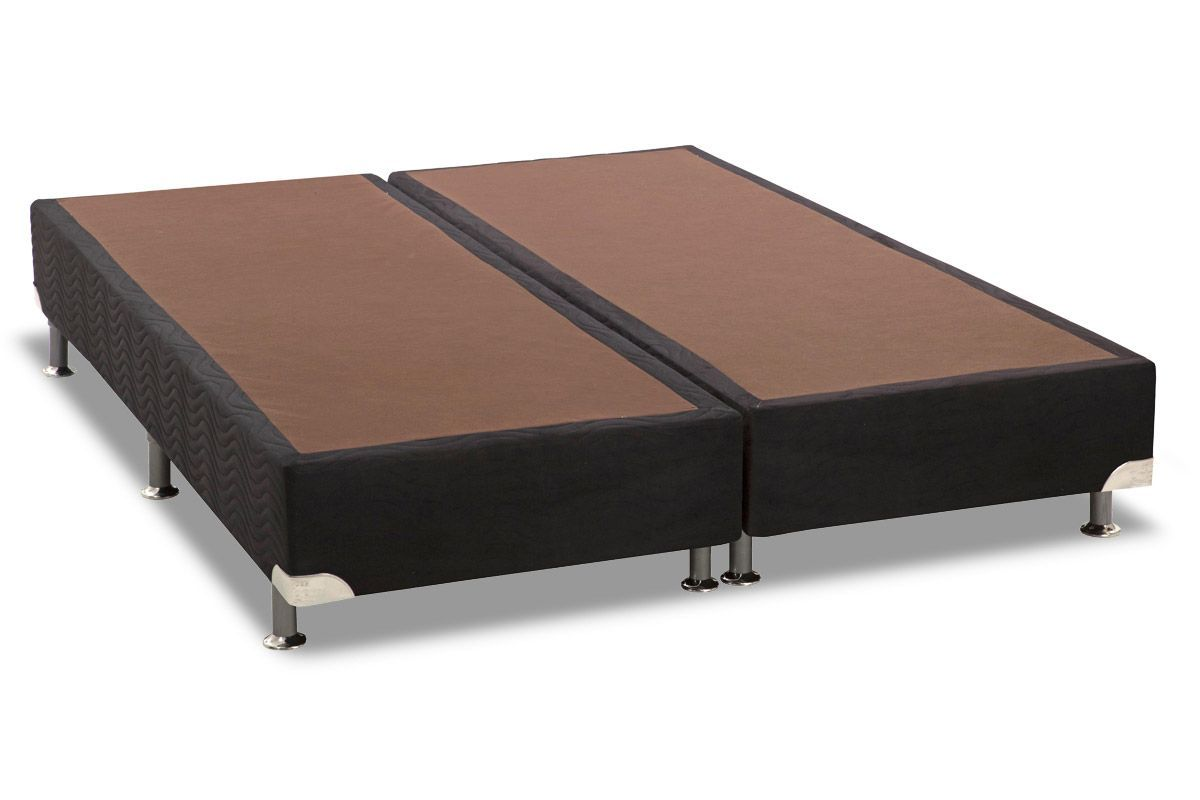 Cama Box Base Universal Nobuck Nero Black 20Cama Box King Size - 1,93x2,03x0,20 - Sem Colchão